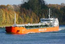 Agdash (Chemical Oil Products Tanker, 150m x 17m, IMO:9435325) captured 27.10.2013