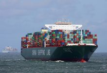 CSCL Mars (Container Ship, 366m x 52m, IMO:9467287) captured 01.07.2012.