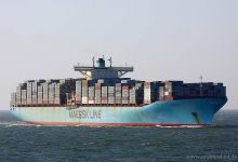 Eugen Maersk (Container Ship, 398m x 56m, IMO:9321550) captured 06.04.2013