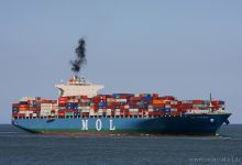MOL Courage (Container Ship, 316m x 46m, IMO:9321263) captured 28.04.2013