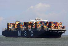 MSC Aurora (Container Ship, 366m x 48m, IMO:9484481) captured 01.07.2012.