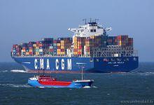 CMA CGM Aquila (Container Ship, 363m x 46m, IMO:9410741) Eems Delfia (General Cargo, 80m x 10m, IMO:8411633) Captured 06.04.2013
