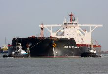 Vale Rio de Janeiro with a draft of app. 22m (Ore Carrier, 362m x 65m, IMO:9572329) captured 16.08.2013