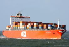 OOCL Montreal (Container Ship, 295m x 32m, IMO:9253739) captured Cuxhaven 31.08.2013.